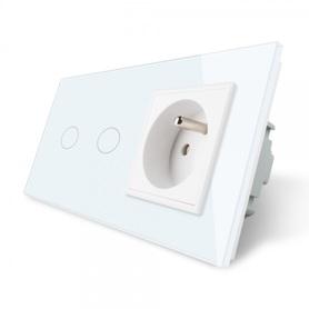 Włącznik 2+G zestaw kolor biały WELAIK ®