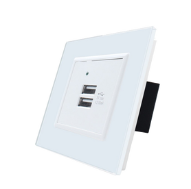 Podwójna ładowarka USB Welaik z ramką białą