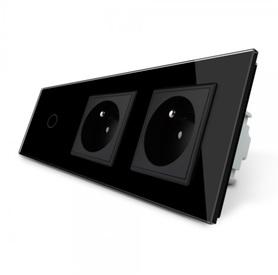 Włącznik 1+G+G zestaw kolor czarny WELAIK ®