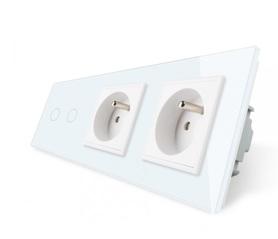 Włącznik 2+G+G zestaw kolor biały WELAIK ®