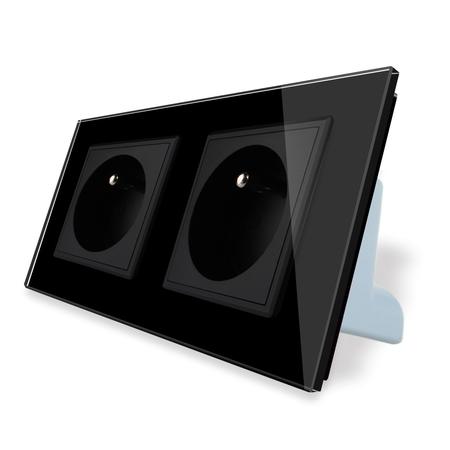 Gniazdo podwójne FR w ramce szklanej zestaw kolor czarny WELAIK ® (1)