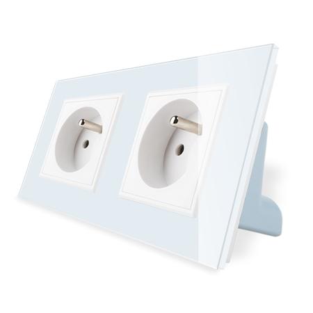 Gniazdo podwójne FR w ramce szklanej zestaw kolor biały WELAIK ® (1)