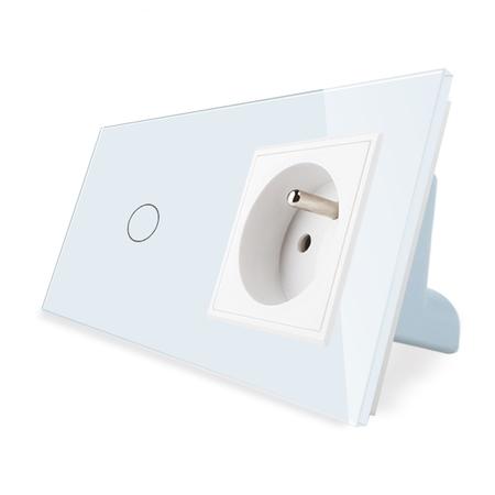 Włącznik pojedynczy z gniazdem kolor biały WELAIK ® (1)