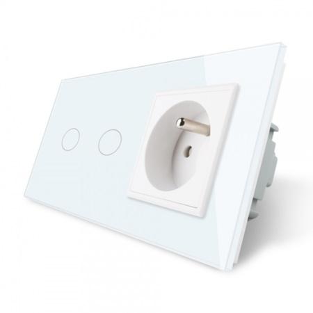Włącznik 2+G zestaw kolor biały WELAIK ® (1)
