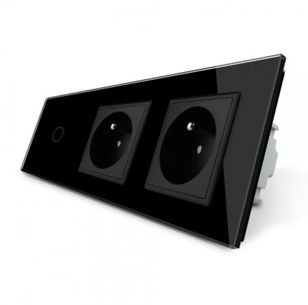 Włącznik 1+G+G zestaw kolor czarny WELAIK ® (1)