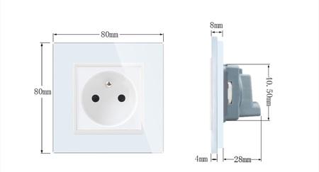 Gniazdo FR w ramce szklanej zestaw kolor biały WELAIK ® (2)