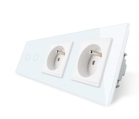 Włącznik 2+G+G zestaw kolor biały WELAIK ® (1)